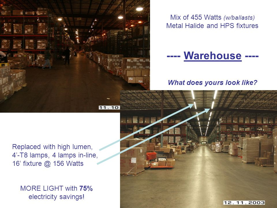 Mix of 455 Watts (w/ballasts) Metal Halide and HPS fixtures ---- Warehouse ---- What does yours look like.