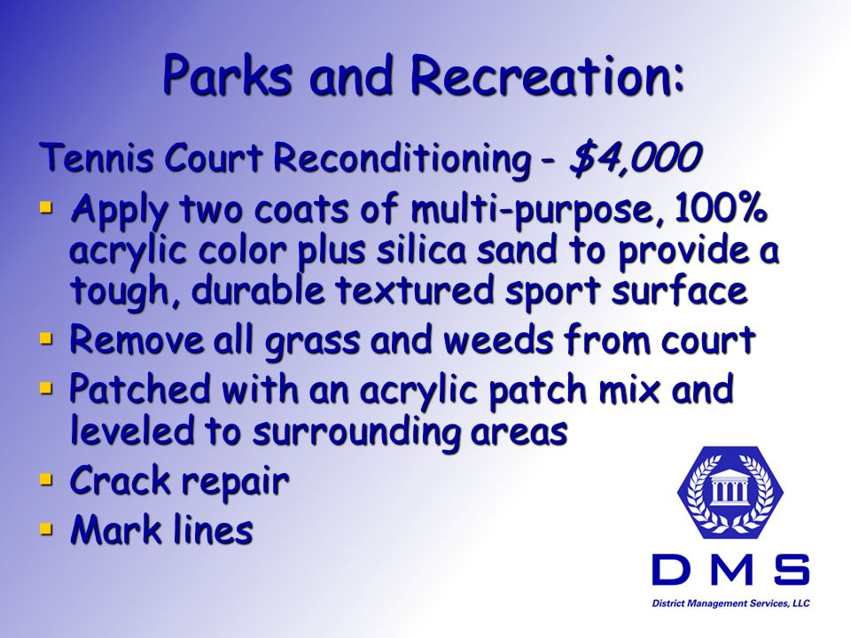 Parks and Recreation: Tennis Court Reconditioning - $4,000 Apply two coats of multi-purpose, 100% acrylic color plus silica sand to provide a tough, durable textured sport surface Apply two coats of multi-purpose, 100% acrylic color plus silica sand to provide a tough, durable textured sport surface Remove all grass and weeds from court Remove all grass and weeds from court Patched with an acrylic patch mix and leveled to surrounding areas Patched with an acrylic patch mix and leveled to surrounding areas Crack repair Crack repair Mark lines Mark lines