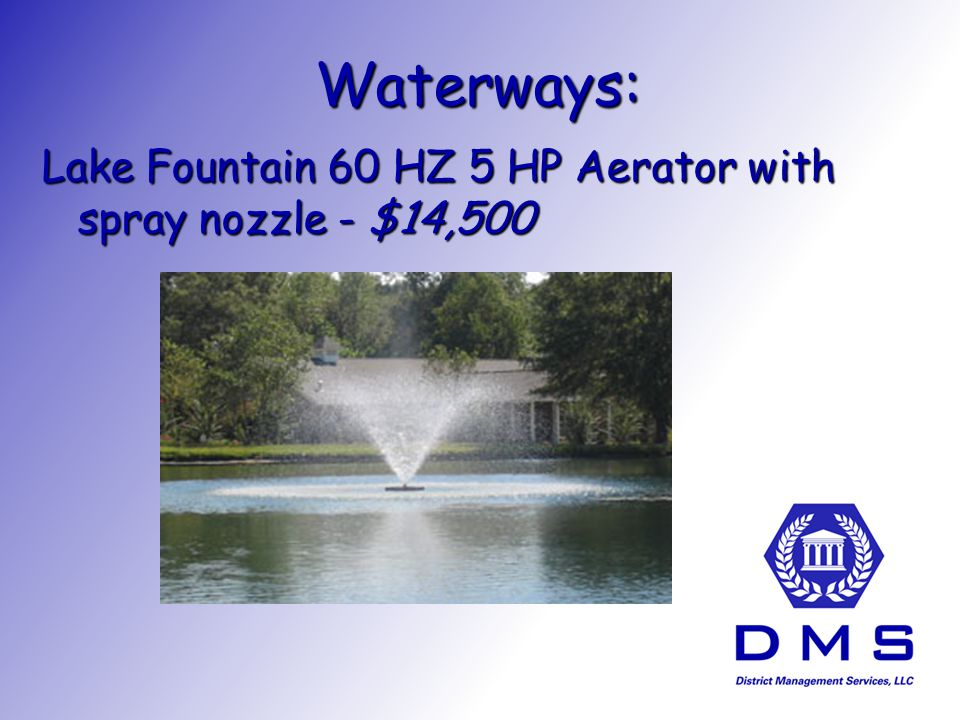 Waterways: Lake Fountain 60 HZ 5 HP Aerator with spray nozzle - $14,500