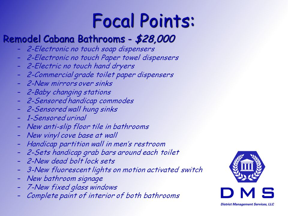 Focal Points: Remodel Cabana Bathrooms - $28,000 – –2-Electronic no touch soap dispensers – –2-Electronic no touch Paper towel dispensers – –2-Electric no touch hand dryers – –2-Commercial grade toilet paper dispensers – –2-New mirrors over sinks – –2-Baby changing stations – –2-Sensored handicap commodes – –2-Sensored wall hung sinks – –1-Sensored urinal – –New anti-slip floor tile in bathrooms – –New vinyl cove base at wall – –Handicap partition wall in mens restroom – –2-Sets handicap grab bars around each toilet – –2-New dead bolt lock sets – –3-New fluorescent lights on motion activated switch – –New bathroom signage – –7-New fixed glass windows – –Complete paint of interior of both bathrooms
