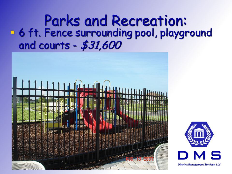 Parks and Recreation: Infant Playground Equipment - $1,700 Infant Playground Equipment - $1,700