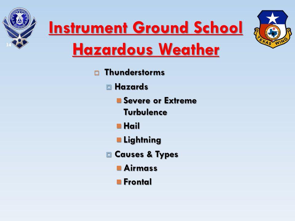 Thunderstorms Thunderstorms Hazards Hazards Severe or Extreme Turbulence Severe or Extreme Turbulence Hail Hail Lightning Lightning Causes & Types Cau
