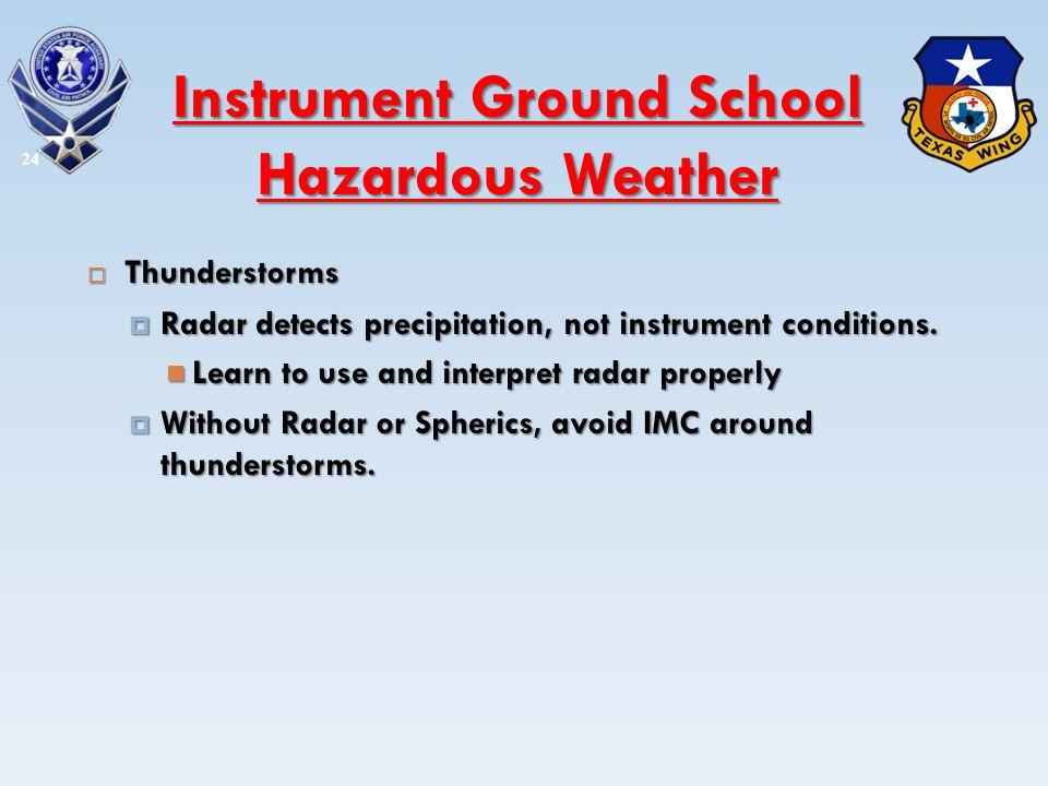 Thunderstorms Thunderstorms Radar detects precipitation, not instrument conditions. Radar detects precipitation, not instrument conditions. Learn to u