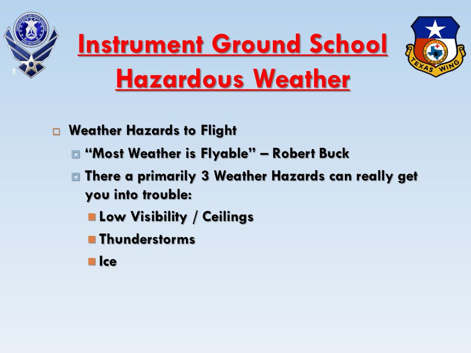 Weather Hazards to Flight Weather Hazards to Flight Most Weather is Flyable – Robert Buck Most Weather is Flyable – Robert Buck There a primarily 3 We