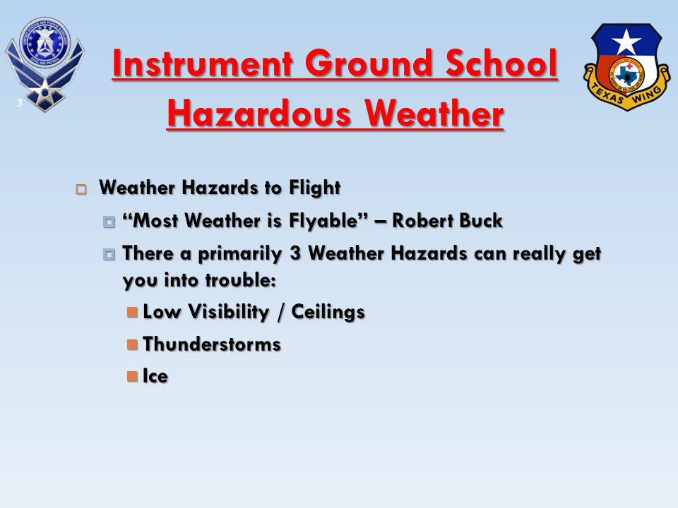 Thunderstorms Thunderstorms Hazards Hazards Severe or Extreme Turbulence Severe or Extreme Turbulence Hail Hail Lightning Lightning Causes & Types Causes & Types Airmass Airmass Frontal Frontal 14 Instrument Ground School Hazardous Weather