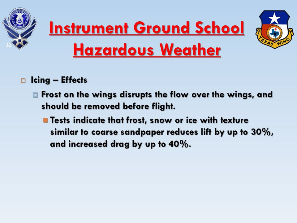 Icing – Effects Icing – Effects Frost on the wings disrupts the flow over the wings, and should be removed before flight. Frost on the wings disrupts