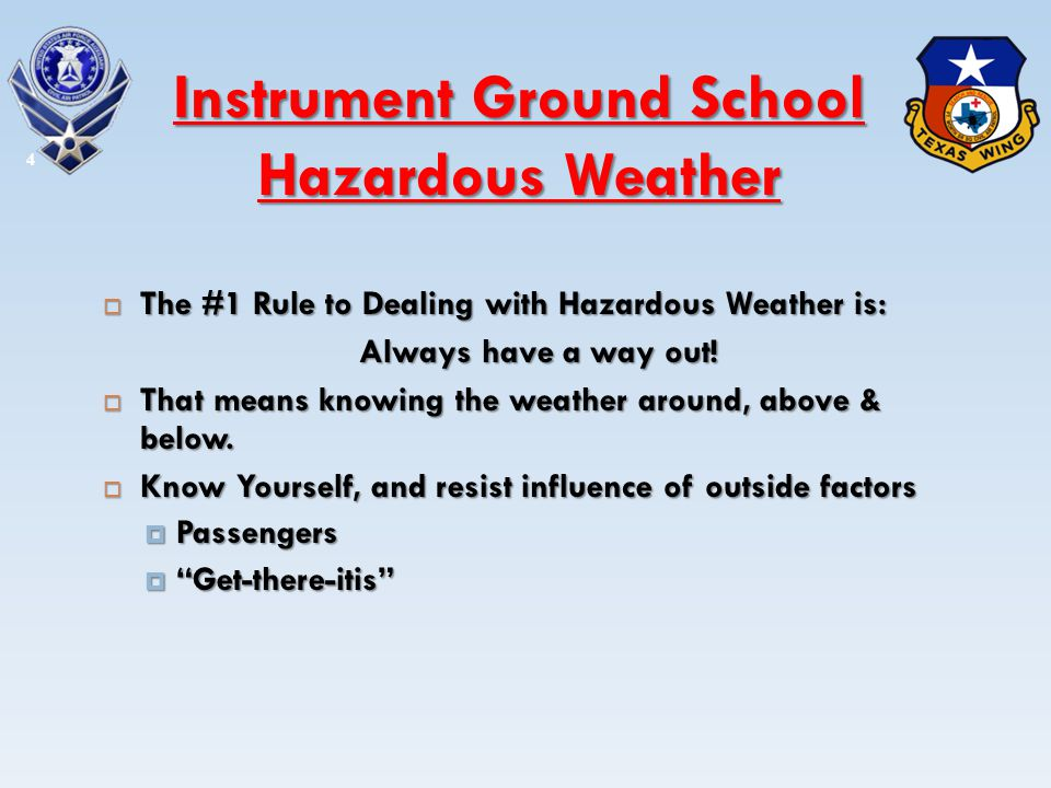 Low Visibility Low Visibility Hazards Hazards Mountain Obscuration Mountain Obscuration Inability to Identify Runway Environment Inability to Identify Runway Environment Caused By Caused By Fog Fog Stable Air with Low Clouds Stable Air with Low Clouds Rain Rain 5 Instrument Ground School Hazardous Weather