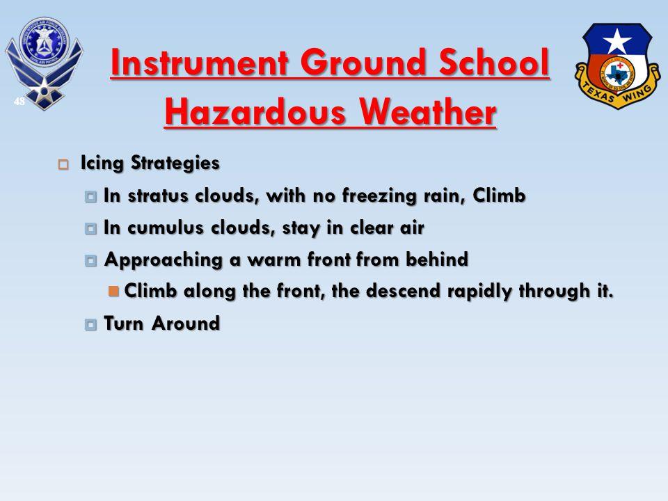 Icing Strategies Icing Strategies In stratus clouds, with no freezing rain, Climb In stratus clouds, with no freezing rain, Climb In cumulus clouds, s