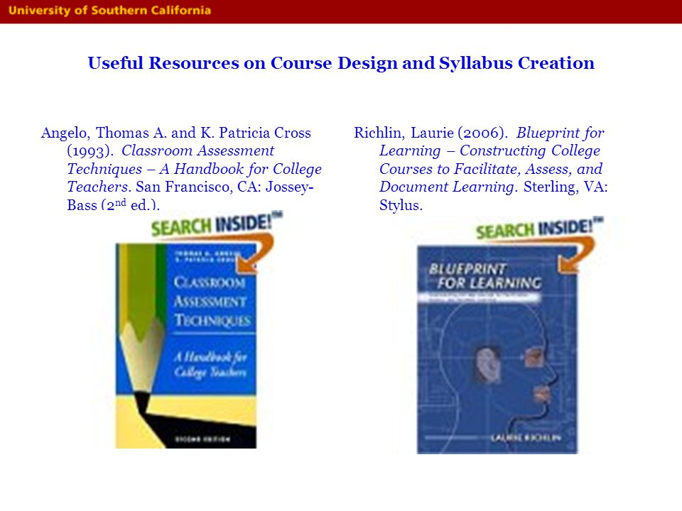 Useful Resources on Course Design and Syllabus Creation Angelo, Thomas A. and K. Patricia Cross (1993). Classroom Assessment Techniques – A Handbook f