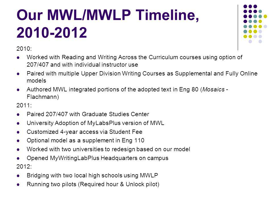 Our MWL/MWLP Timeline, 2010-2012 2010: Worked with Reading and Writing Across the Curriculum courses using option of 207/407 and with individual instructor use Paired with multiple Upper Division Writing Courses as Supplemental and Fully Online models Authored MWL integrated portions of the adopted text in Eng 80 (Mosaics - Flachmann) 2011: Paired 207/407 with Graduate Studies Center University Adoption of MyLabsPlus version of MWL Customized 4-year access via Student Fee Optional model as a supplement in Eng 110 Worked with two universities to redesign based on our model Opened MyWritingLabPlus Headquarters on campus 2012: Bridging with two local high schools using MWLP Running two pilots (Required hour & Unlock pilot)