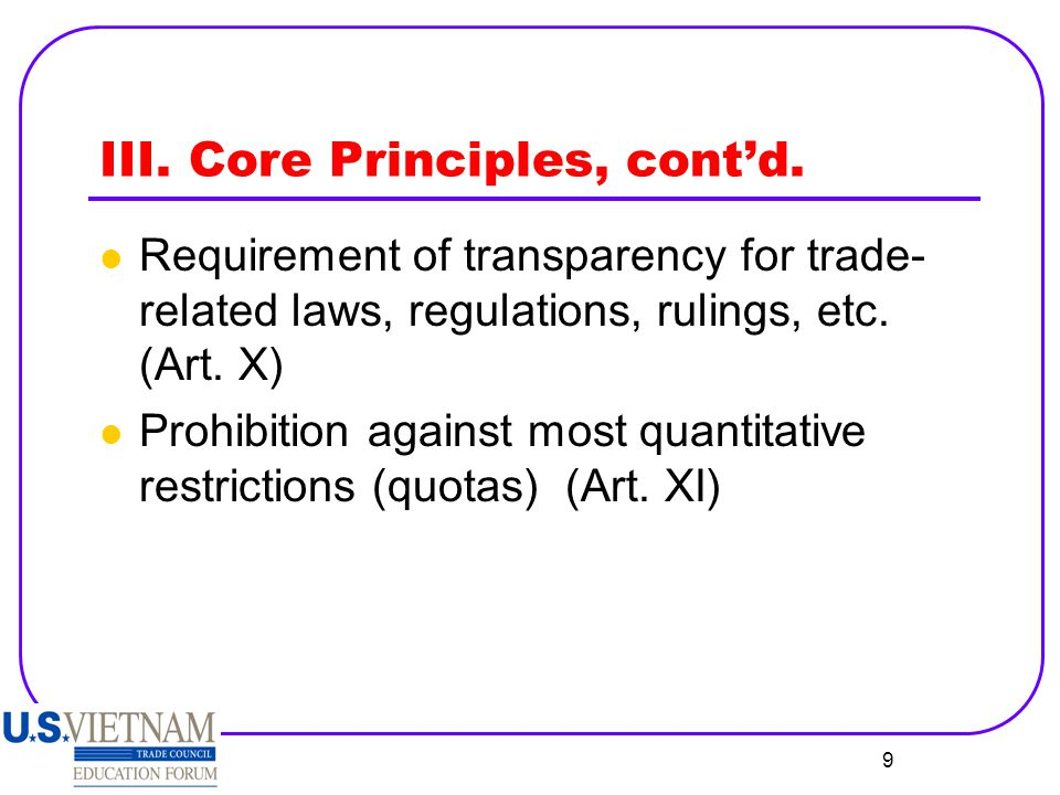 10 IV.Exceptions Balance of payments problems (Arts.