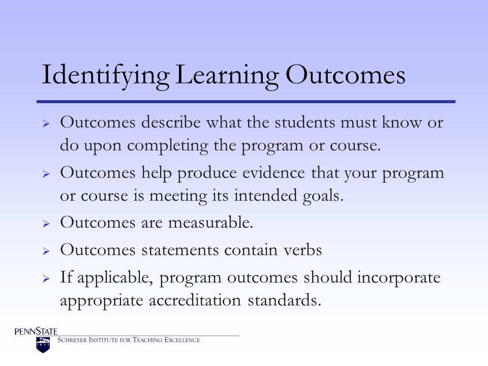 Identifying Learning Outcomes Outcomes describe what the students must know or do upon completing the program or course.