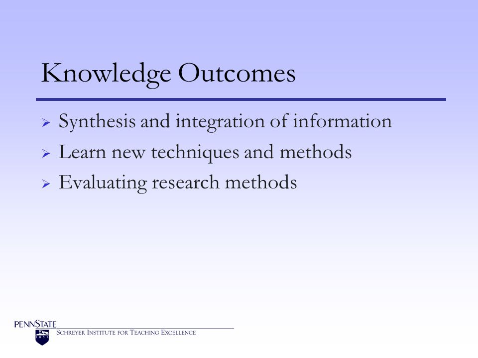 Knowledge Outcomes Synthesis and integration of information Learn new techniques and methods Evaluating research methods