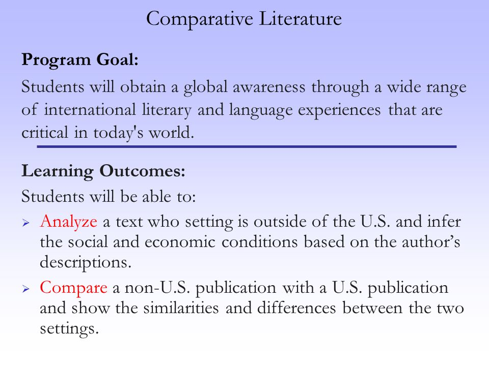 Learning Outcomes: Students will be able to: Analyze a text who setting is outside of the U.S.