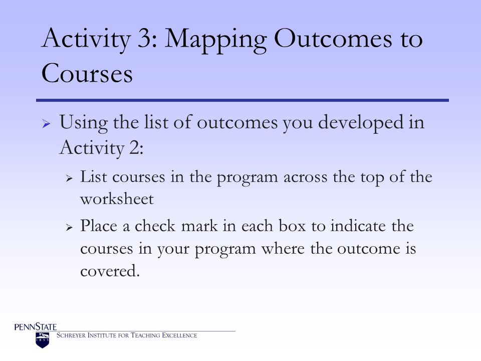 Activity 3: Mapping Outcomes to Courses Using the list of outcomes you developed in Activity 2: List courses in the program across the top of the worksheet Place a check mark in each box to indicate the courses in your program where the outcome is covered.