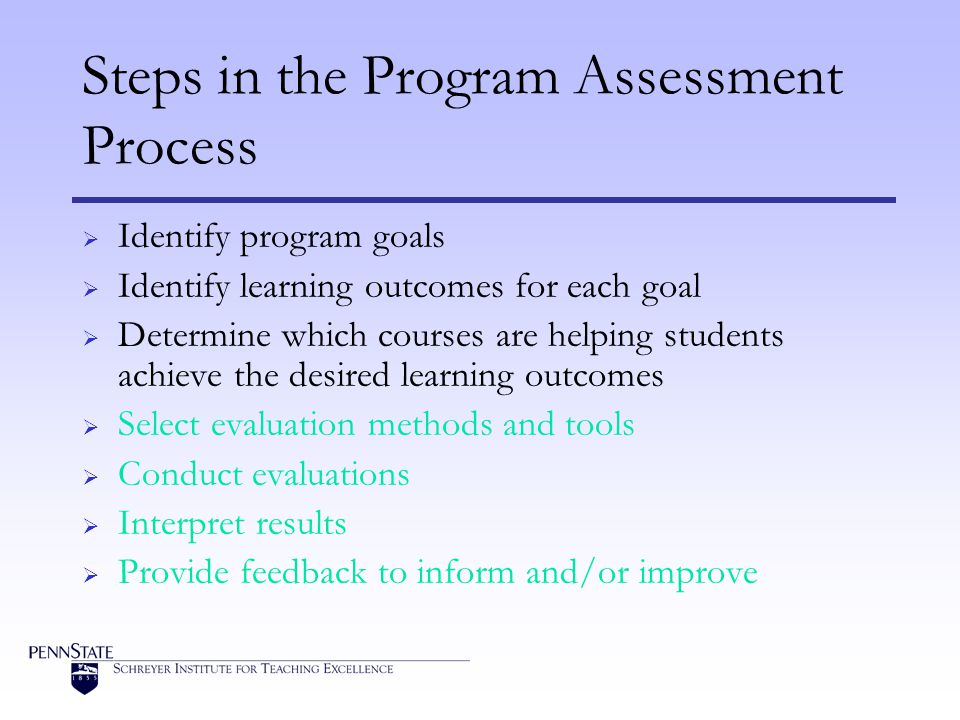 Steps in the Program Assessment Process Identify program goals Identify learning outcomes for each goal Determine which courses are helping students achieve the desired learning outcomes Select evaluation methods and tools Conduct evaluations Interpret results Provide feedback to inform and/or improve