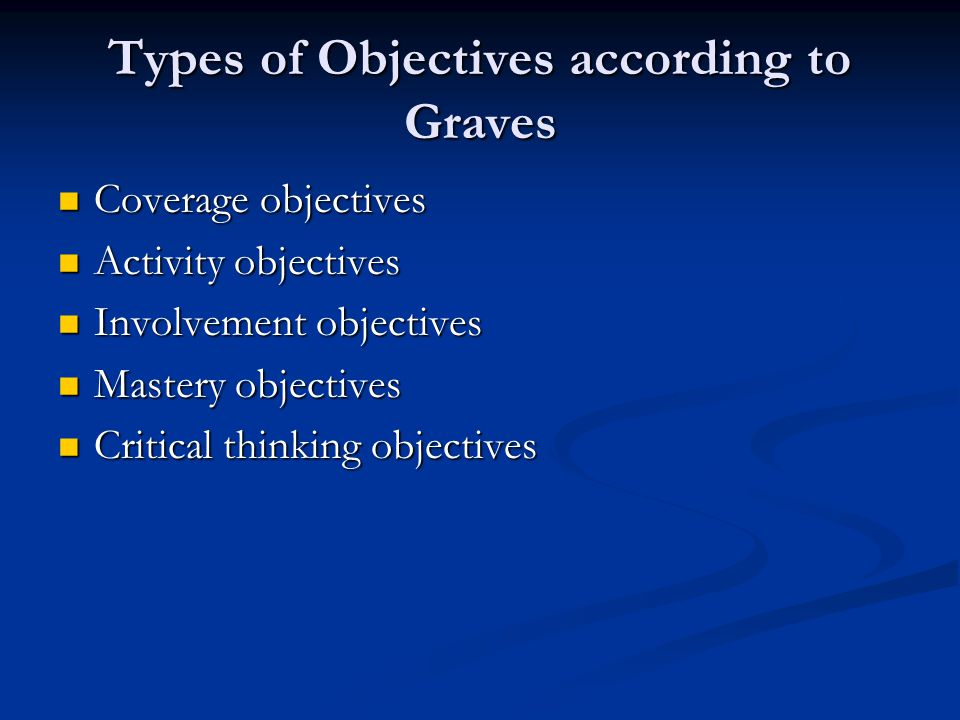 Types of Objectives according to Graves Coverage objectives Coverage objectives Activity objectives Activity objectives Involvement objectives Involve