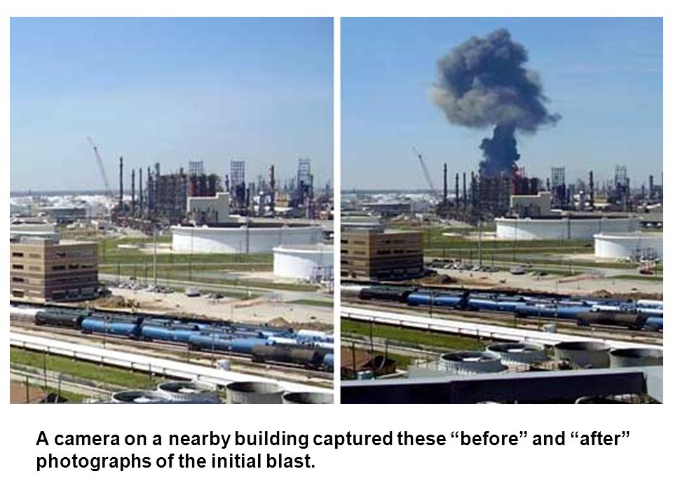 A camera on a nearby building captured these before and after photographs of the initial blast.