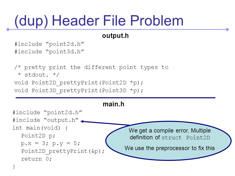 (dup) Header File Problem output.h #include point2d.h #include point3d.h /* pretty print the different point types to * stdout.