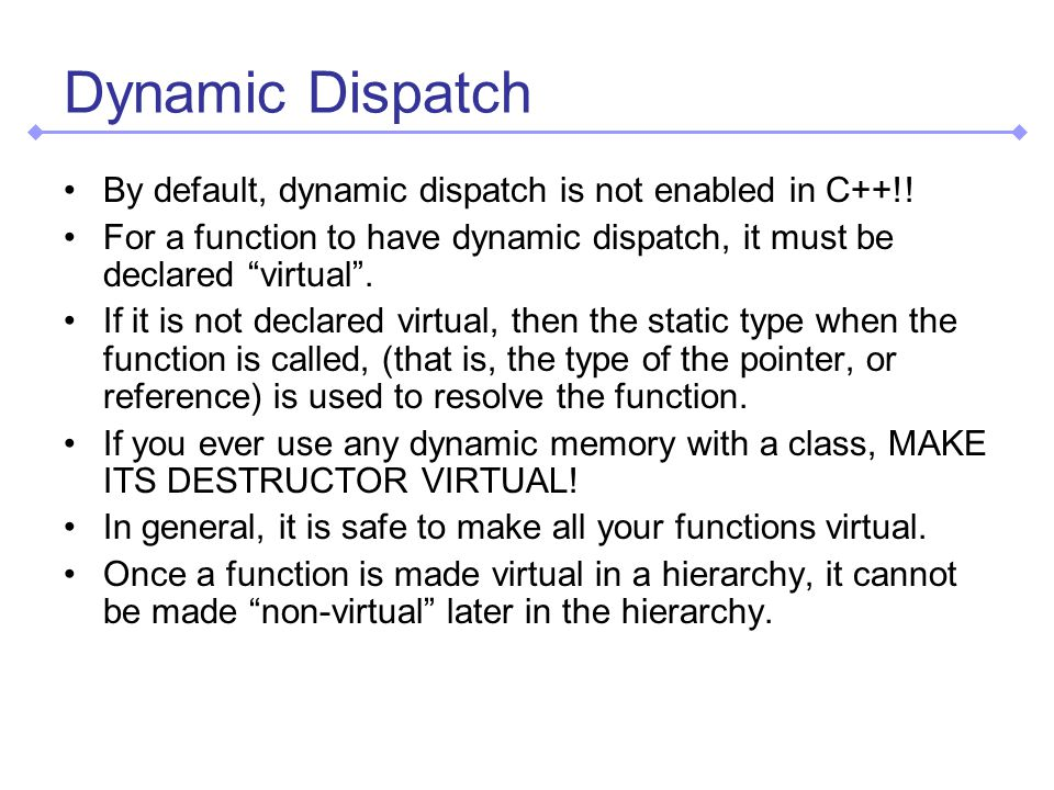 Dynamic Dispatch By default, dynamic dispatch is not enabled in C++!.