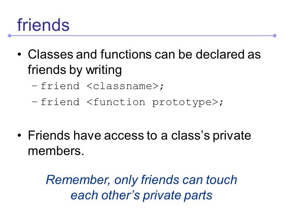 friends Classes and functions can be declared as friends by writing –friend ; Friends have access to a classs private members.