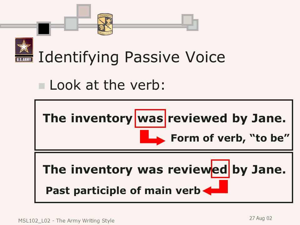 27 Aug 02 MSL102_L02 - The Army Writing Style Identifying Passive Voice Look at the verb: The inventory was reviewed by Jane.