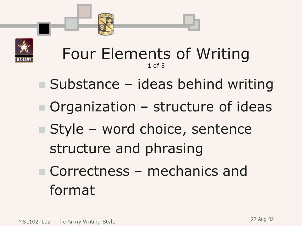 27 Aug 02 MSL102_L02 - The Army Writing Style Four Elements of Writing 1 of 5 Substance – ideas behind writing Organization – structure of ideas Style – word choice, sentence structure and phrasing Correctness – mechanics and format