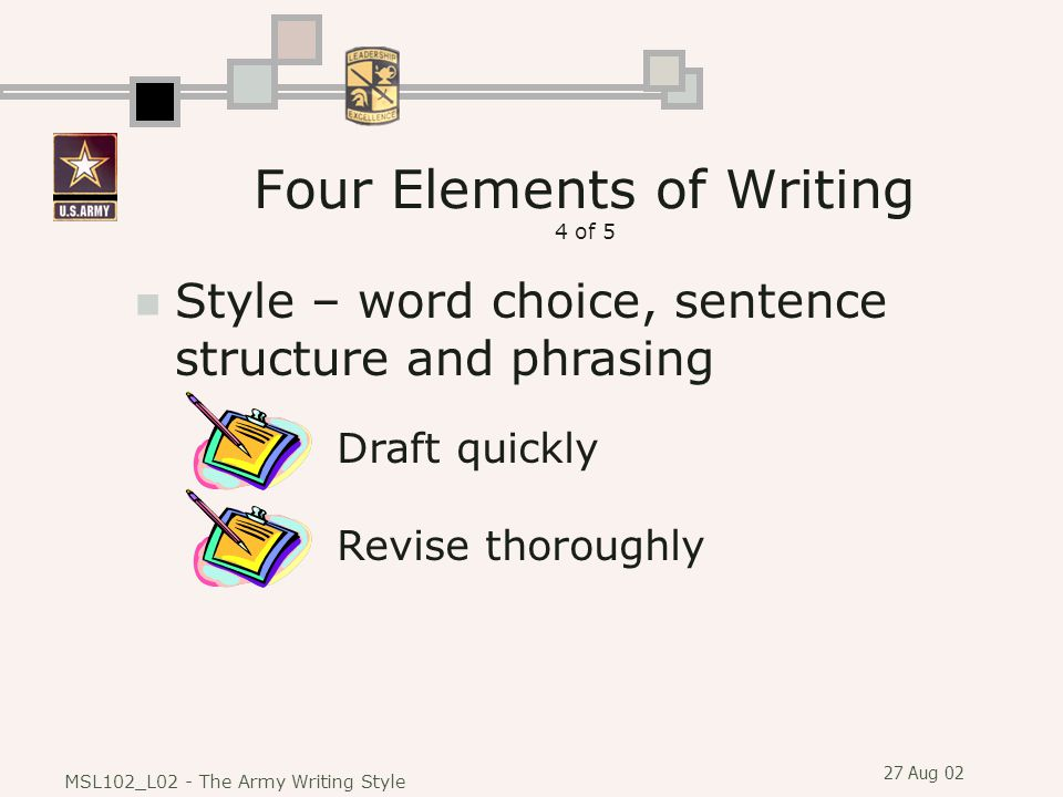 27 Aug 02 MSL102_L02 - The Army Writing Style Style – word choice, sentence structure and phrasing Draft quicklyRevise thoroughly Four Elements of Writing 4 of 5