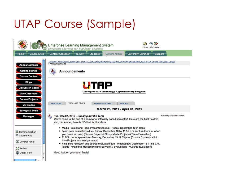 UTAP Course (Sample)