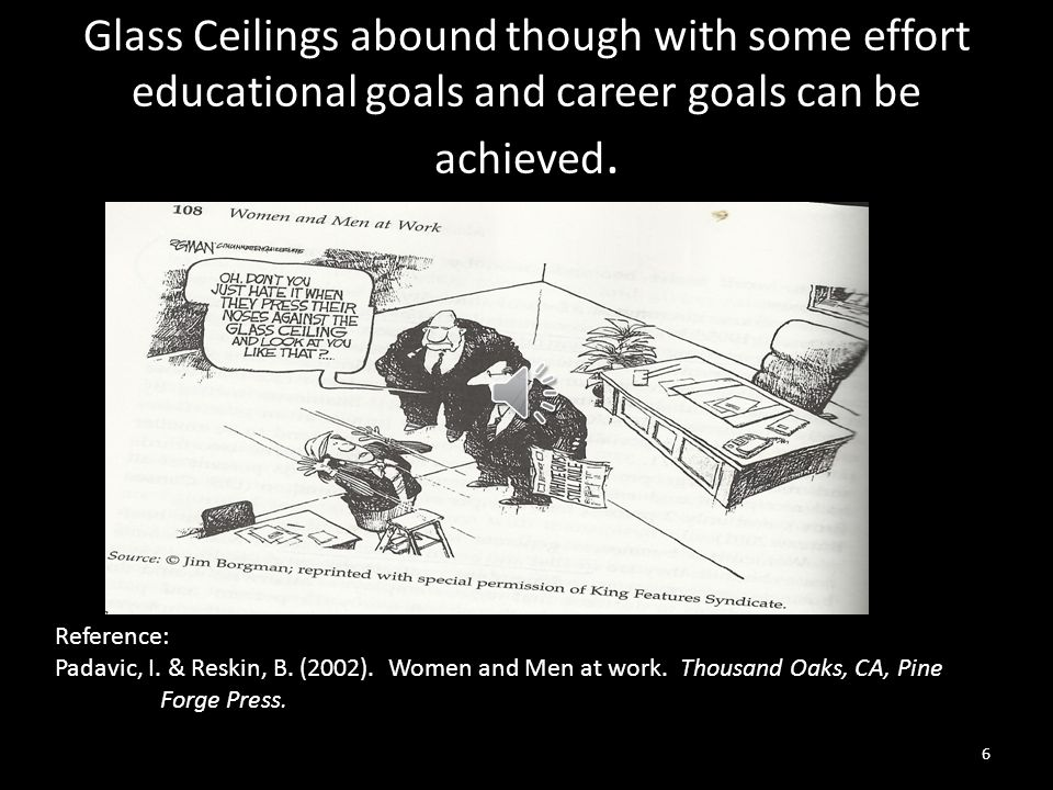 Glass Ceilings abound though with some effort educational goals and career goals can be achieved.
