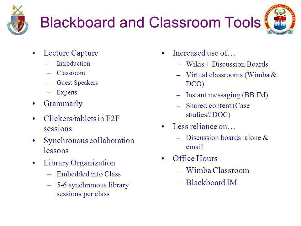 Blackboard and Classroom Tools Lecture Capture –Introduction –Classroom –Guest Speakers –Experts Grammarly Clickers/tablets in F2F sessions Synchronous collaboration lessons Library Organization –Embedded into Class –5-6 synchronous library sessions per class Increased use of… –Wikis + Discussion Boards –Virtual classrooms (Wimba & DCO) –Instant messaging (BB IM) –Shared content (Case studies/JDOC) Less reliance on… –Discussion boards alone & email Office Hours –Wimba Classroom –Blackboard IM