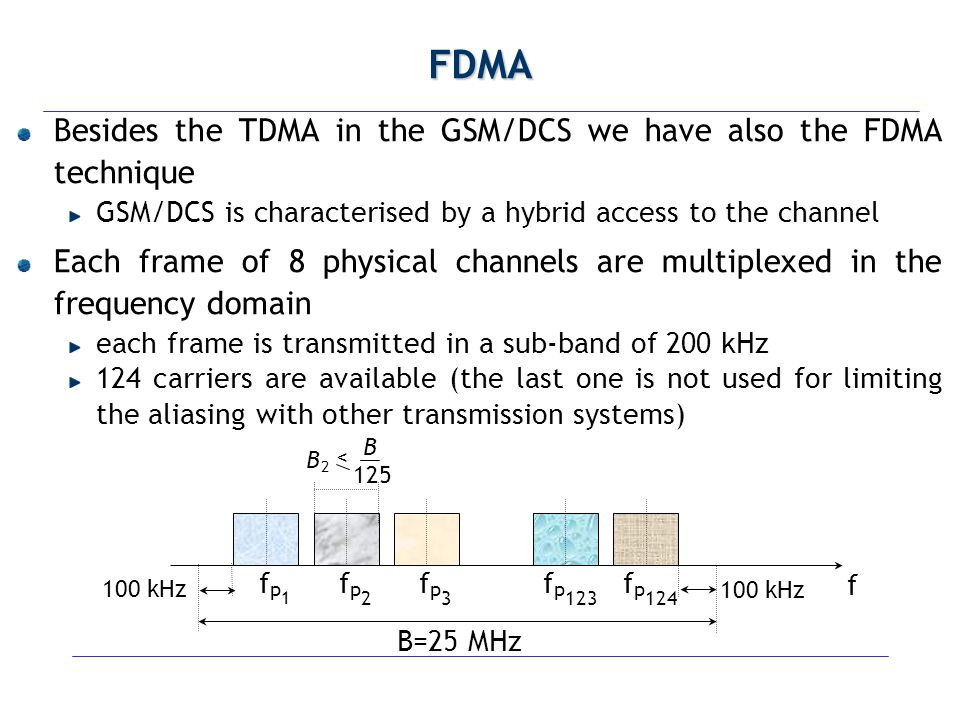 Classification of the Bursts (1) Frequency Correction Burst used just to transmit Frequency Correction Channel (FCCH) 142 bits are set to 1 Synchronisation Burst used to transmit synchronisation information the training sequence includes a well known sequence of bits Dummy Burst it contains no information but only filling bits