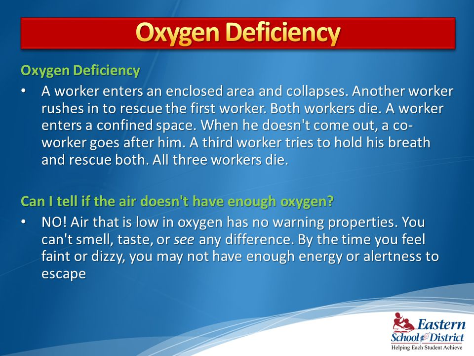 Oxygen Deficiency A worker enters an enclosed area and collapses.