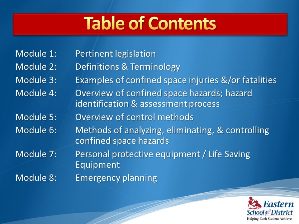 Module 1: Pertinent legislation Module 2: Definitions & Terminology Module 3: Examples of confined space injuries &/or fatalities Module 4: Overview o