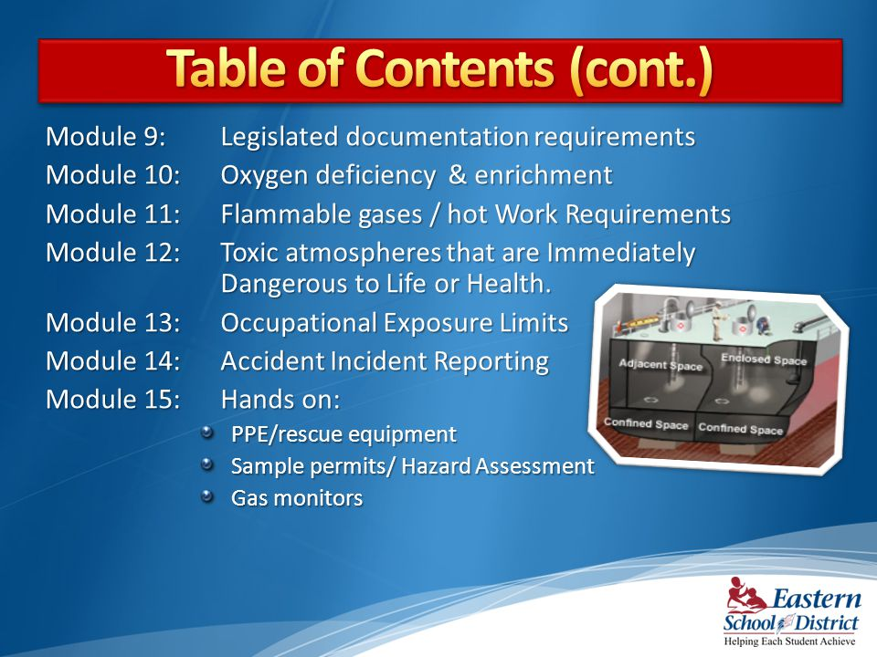 Module 9: Legislated documentation requirements Module 10: Oxygen deficiency & enrichment Module 11: Flammable gases / hot Work Requirements Module 12: Toxic atmospheres that are Immediately Dangerous to Life or Health.