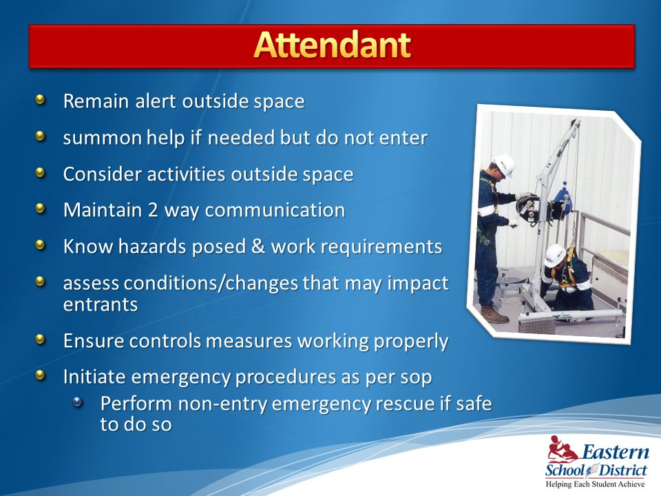 Remain alert outside space summon help if needed but do not enter Consider activities outside space Maintain 2 way communication Know hazards posed & work requirements assess conditions/changes that may impact entrants Ensure controls measures working properly Initiate emergency procedures as per sop Perform non-entry emergency rescue if safe to do so