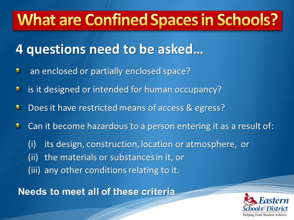 an enclosed or partially enclosed space? an enclosed or partially enclosed space? is it designed or intended for human occupancy? Does it have restric