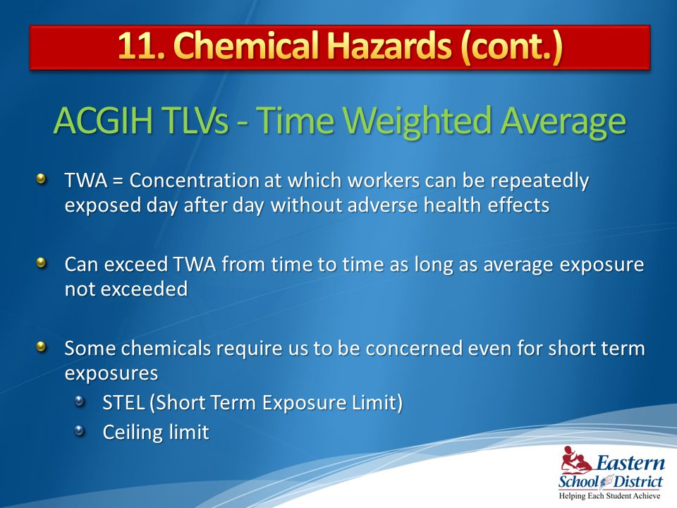 ACGIH TLVs - Time Weighted Average TWA = Concentration at which workers can be repeatedly exposed day after day without adverse health effects Can exceed TWA from time to time as long as average exposure not exceeded Some chemicals require us to be concerned even for short term exposures STEL (Short Term Exposure Limit) Ceiling limit