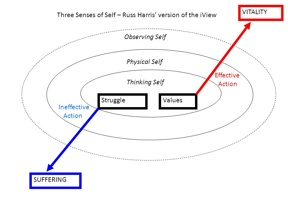 Physical Self Thinking Self Three Senses of Self – Russ Harris version of the iView Observing Self VITALITY Values Effective Action Ineffective Action