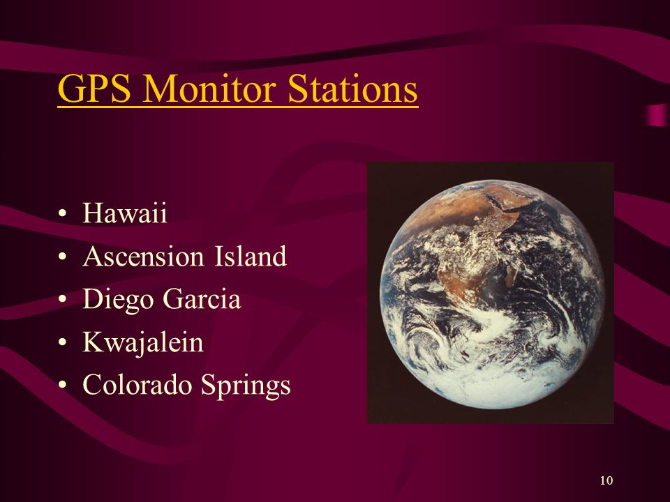 10 GPS Monitor Stations Hawaii Ascension Island Diego Garcia Kwajalein Colorado Springs