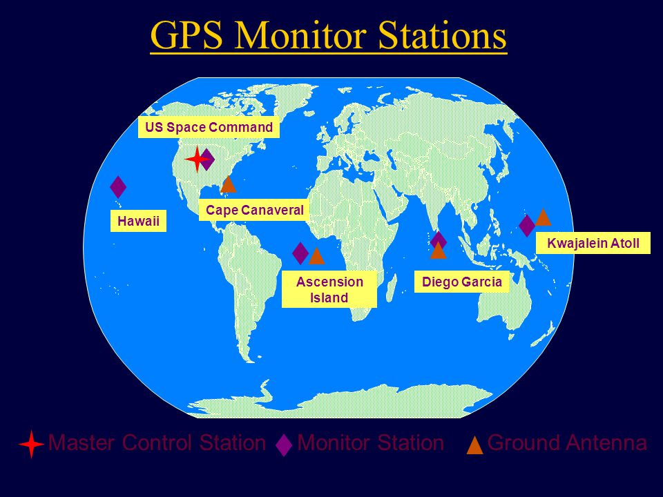 Kwajalein Atoll US Space Command Hawaii Ascension Island Diego Garcia Cape Canaveral Ground AntennaMaster Control StationMonitor Station GPS Monitor Stations