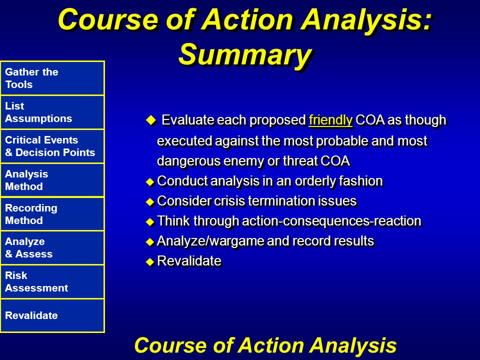 Course of Action Analysis: Summary u Evaluate each proposed friendly COA as though executed against the most probable and most dangerous enemy or thre