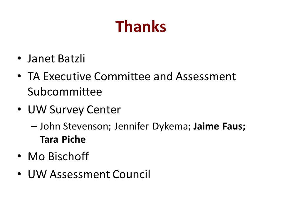 Thanks Janet Batzli TA Executive Committee and Assessment Subcommittee UW Survey Center – John Stevenson; Jennifer Dykema; Jaime Faus; Tara Piche Mo Bischoff UW Assessment Council
