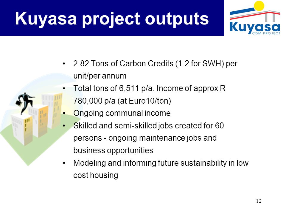 12 Kuyasa project outputs 2.82 Tons of Carbon Credits (1.2 for SWH) per unit/per annum Total tons of 6,511 p/a.