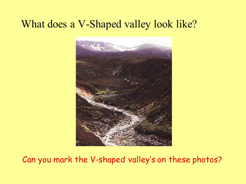 What does a V-Shaped valley look like? Can you mark the V-shaped valleys on these photos?
