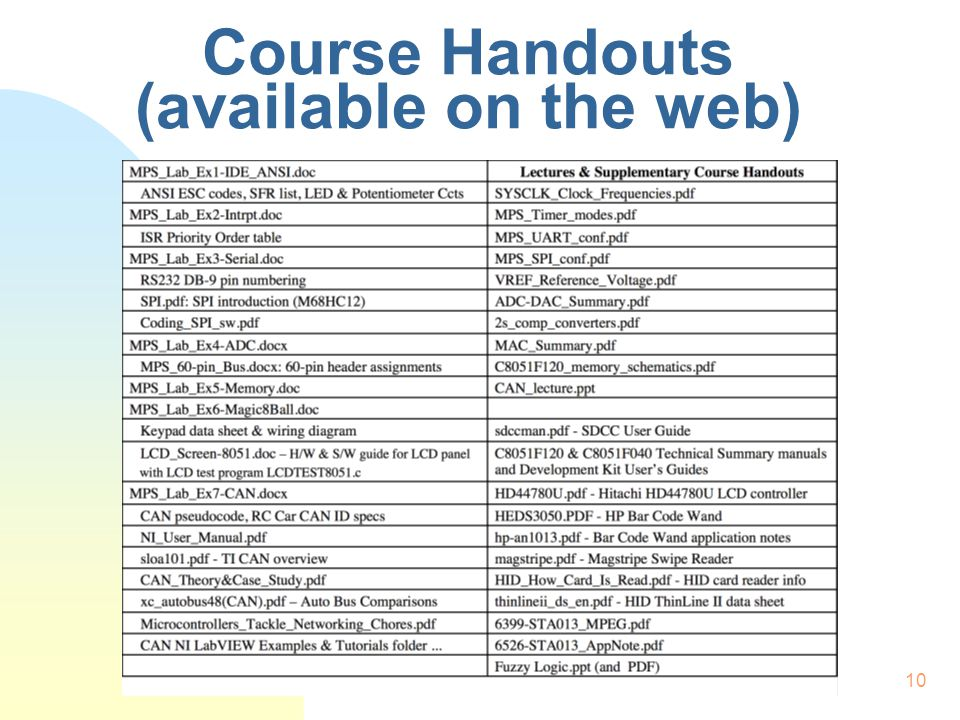 10 Course Handouts (available on the web)