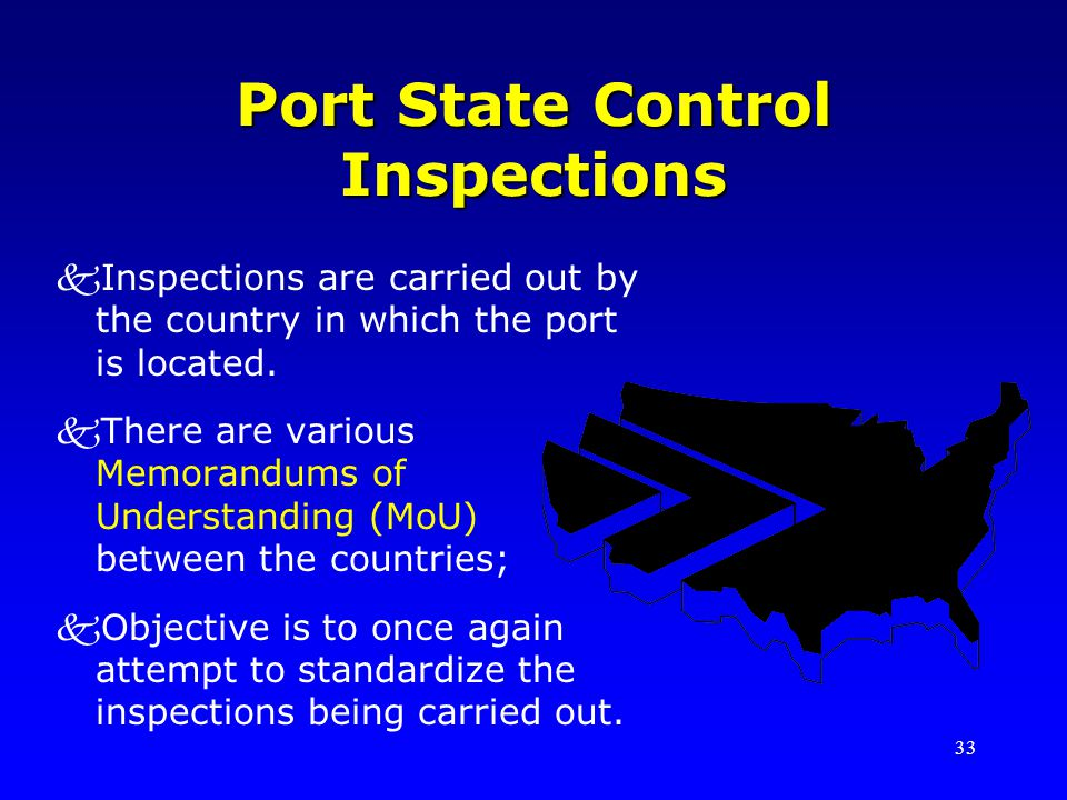 33 Port State Control Inspections kInspections are carried out by the country in which the port is located.