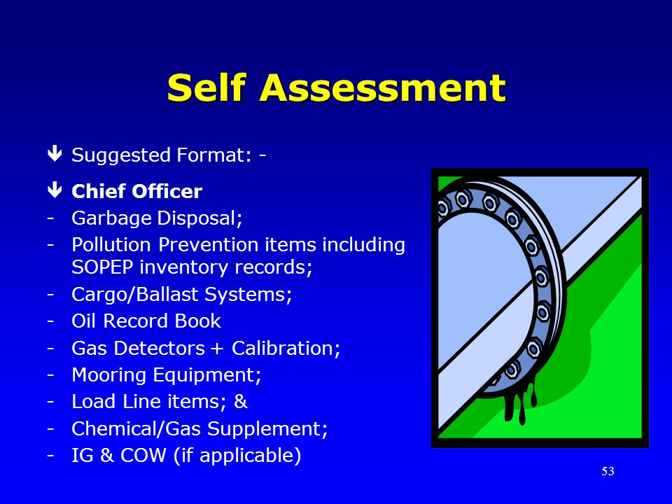 53 Self Assessment êSuggested Format: - êChief Officer -Garbage Disposal; -Pollution Prevention items including SOPEP inventory records; -Cargo/Ballast Systems; -Oil Record Book -Gas Detectors + Calibration; -Mooring Equipment; -Load Line items; & -Chemical/Gas Supplement; -IG & COW (if applicable)