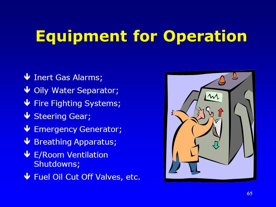 65 Equipment for Operation êInert Gas Alarms; êOily Water Separator; êFire Fighting Systems; êSteering Gear; êEmergency Generator; êBreathing Apparatus; êE/Room Ventilation Shutdowns; êFuel Oil Cut Off Valves, etc.