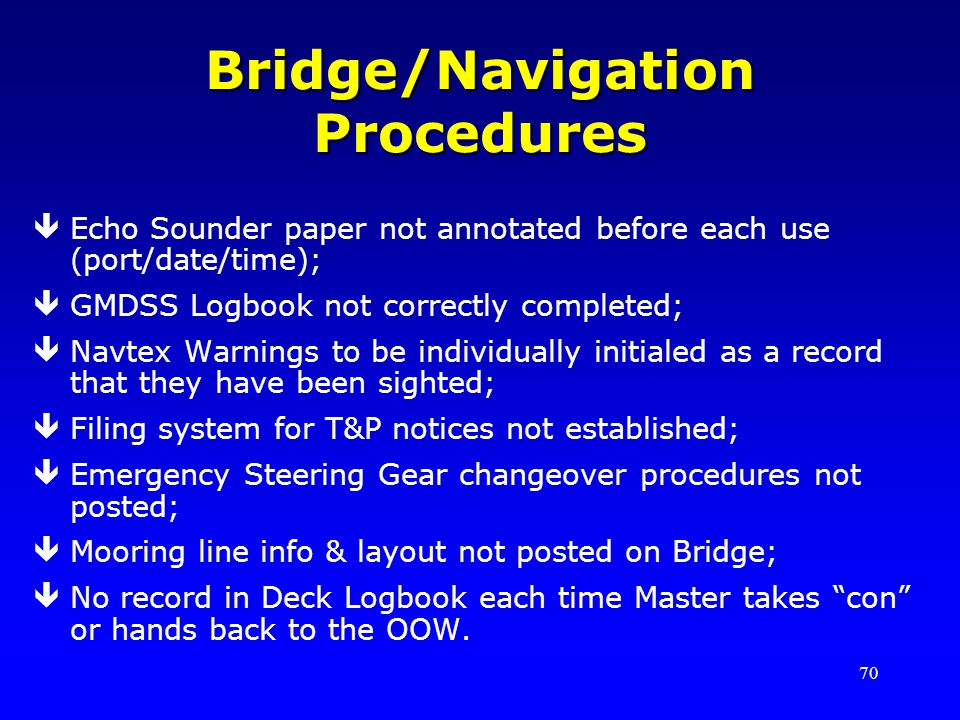 70 Bridge/Navigation Procedures êEcho Sounder paper not annotated before each use (port/date/time); êGMDSS Logbook not correctly completed; êNavtex Wa